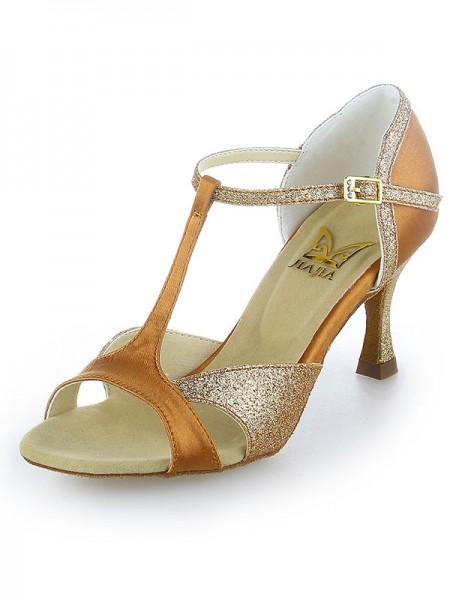 Women's Satin Peep Toe Sparkling Glitter Stiletto Heel Chaussures de danse