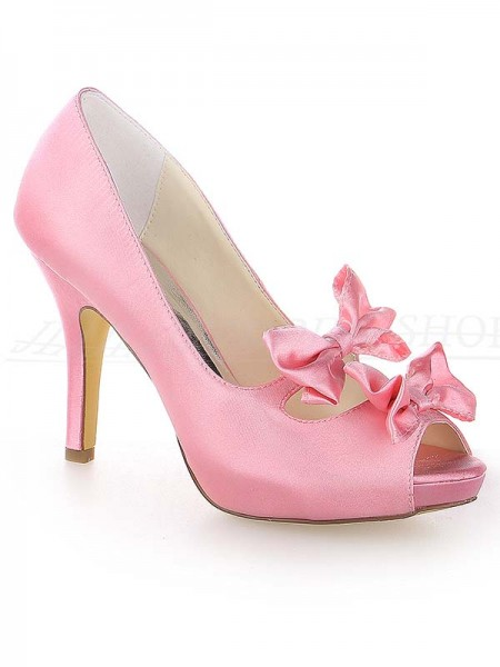 Women's Satin Peep Toe Stiletto Heel Plate-forme With Boucles Watermelon Chaussures de mariage