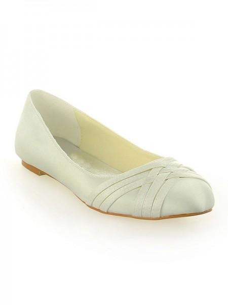 Women's Satin Toe Fermé Flat Heel Ivory Chaussures de mariage