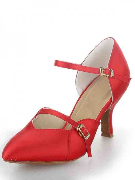 Women's Stiletto Heel Satin Toe Fermé Buckle Chaussures de danse