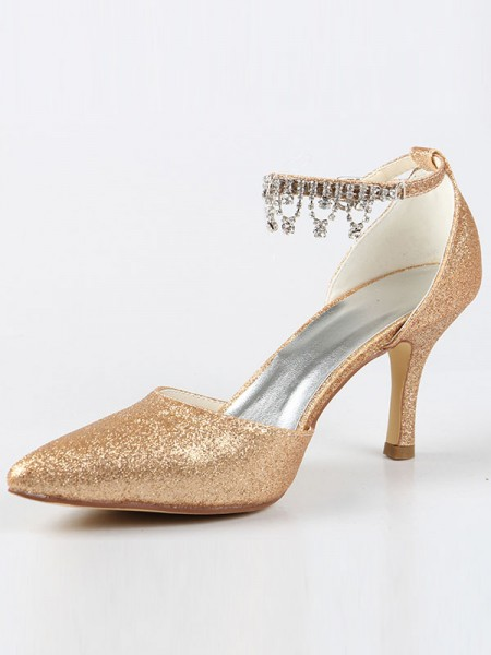 Women's Mary Jane Toe Fermé Cône talon With Faux diamants Talons hauts