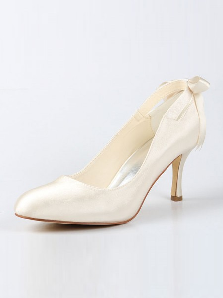 Women's Satin Toe Fermé Spool Heel With Boucles Ivory Chaussures de mariage