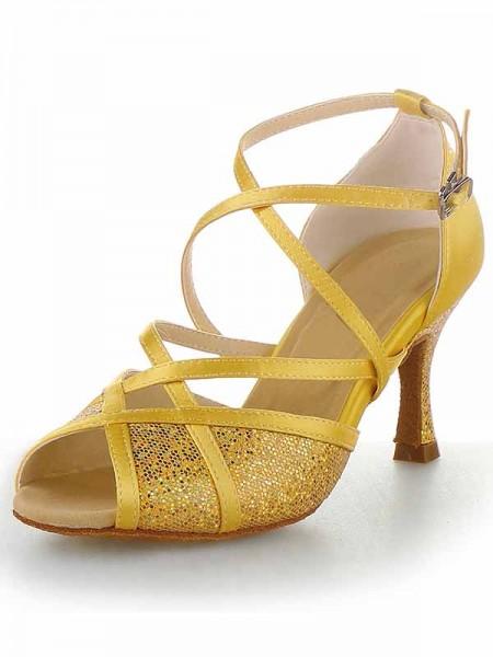 Women's Satin Peep Toe Stiletto Heel Buckle Chaussures de danse