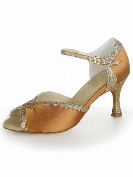 Women's Stiletto Heel Satin Peep Toe Sparkling Glitter Chaussures de danse