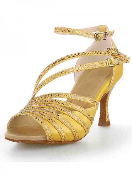 Women's Peep Toe Stiletto Heel Satin Sparkling Glitter Chaussures de danse
