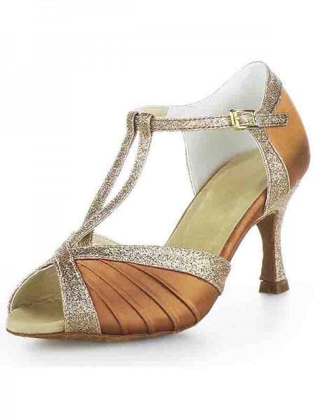 Women's Stiletto Heel Satin Peep Toe Buckle Sparkling Glitter Chaussures de danse