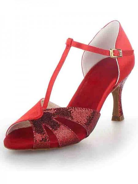 Women's T-Strap Peep Toe Stiletto Heel Satin Sparkling Glitter Chaussures de danse