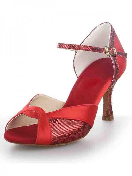 Women's Satin Peep Toe Stiletto Heel Sparkling Glitter Chaussures de danse