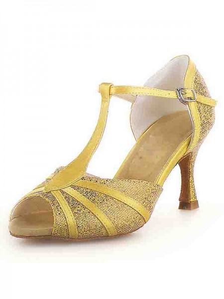 Women's Peep Toe Stiletto Heel Satin Buckle Sparkling Glitter Chaussures de danse