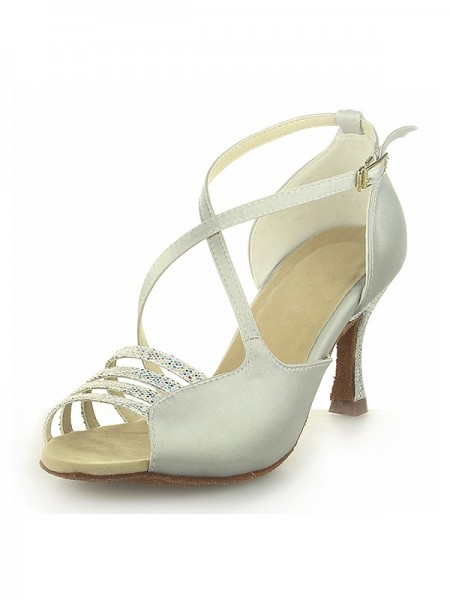 Women's Peep Toe Satin Spool Heel With Buckle Ivory Chaussures de mariage