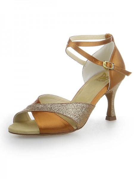 Women's Peep Toe Sparkling Glitter Satin Stiletto Heel Chaussures de danse