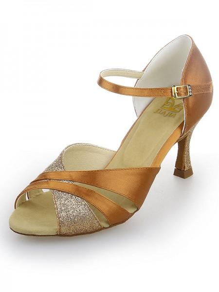 Women's Peep Toe Satin Stiletto Heel Sparkling Glitter Chaussures de danse