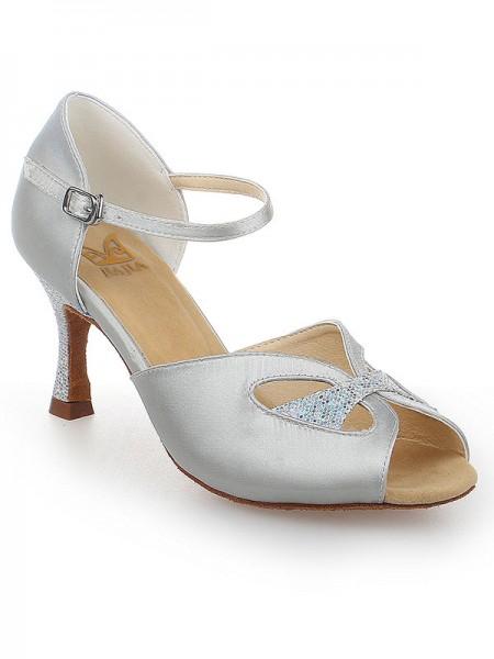 Women's Peep Toe With Buckle Satin Stiletto Heel Chaussures de danse