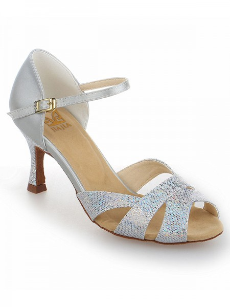 Women's Satin Stiletto Heel Peep Toe With Sparkling Glitter Chaussures de danse