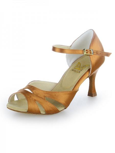Women's Peep Toe Buckle Satin Stiletto Heel Chaussures de danse