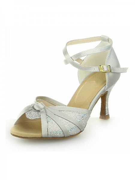 Women's Peep Toe With Sparkling Glitter Satin Stiletto Heel Chaussures de danse
