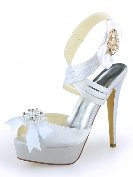 Women's Satin Peep Toe Plate-forme Stiletto Heel With Pearl White Chaussures de mariage