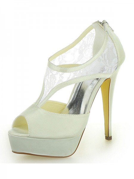 Women's Stiletto Heel Satin Plate-forme Peep Toe With Zipper Ivory Chaussures de mariage