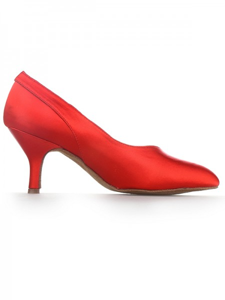 Women's Red Toe Fermé Cône talon Satin Talons hauts