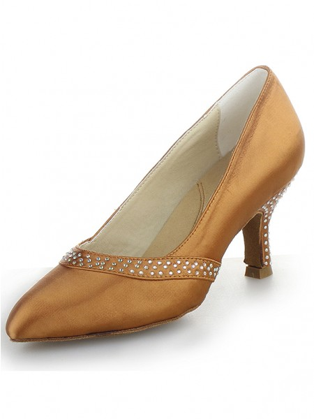 Women's Satin Toe Fermé Cône talon With Faux diamants Talons hauts