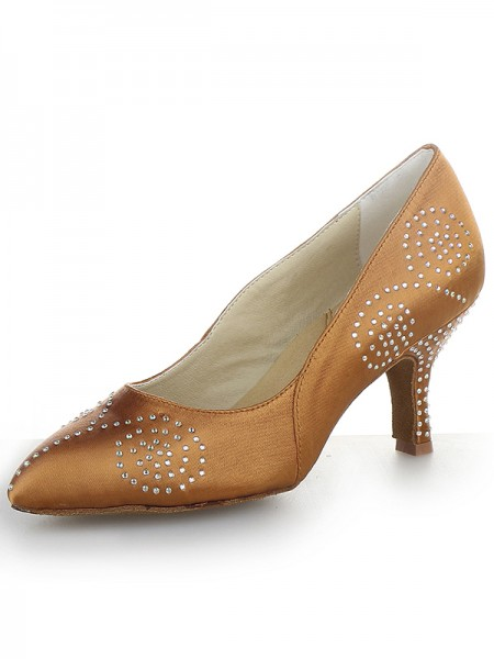 Women's Toe Fermé Satin Cône talon With Faux diamants Talons hauts