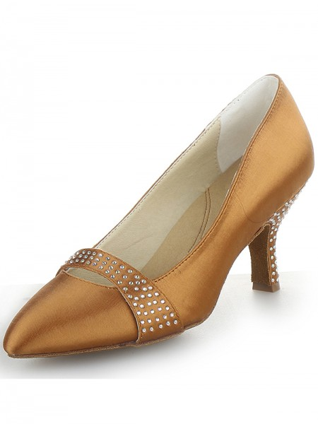 Women's Satin Cône talon Toe Fermé With Faux diamants Talons hauts