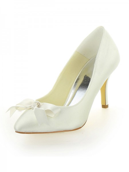 Women's Stiletto Heel Satin Toe Fermé With Boucles Ivory Chaussures de mariage