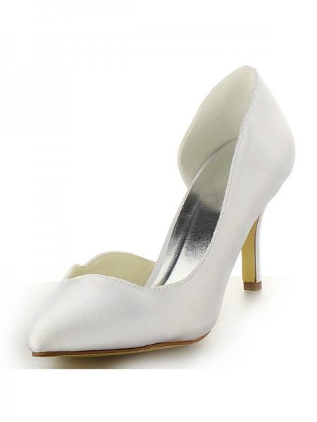Women's Satin Toe Fermé Stiletto Heel White Chaussures de mariage