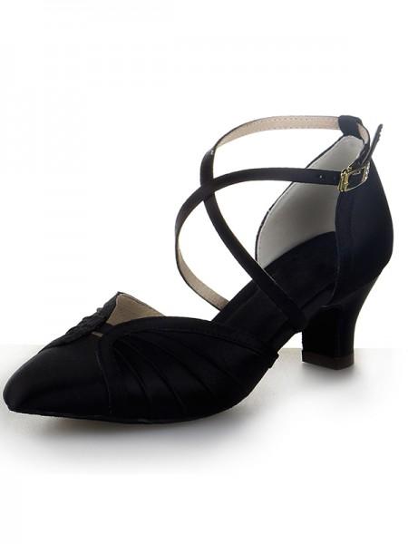Women's Toe Fermé Satin talon Chunky Buckle Chaussures de danse
