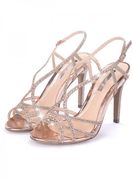 Aux Femmes Faux diamants Stiletto Heel Peep Toe Des sandales