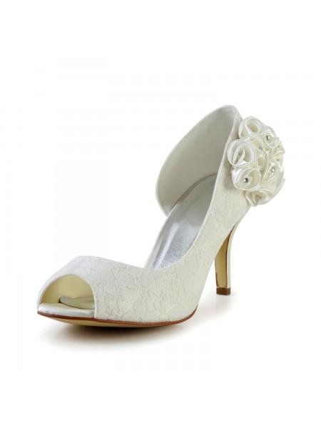 Women's Trendy Stiletto Heel Satin Ivory Chaussures de mariage With Flower