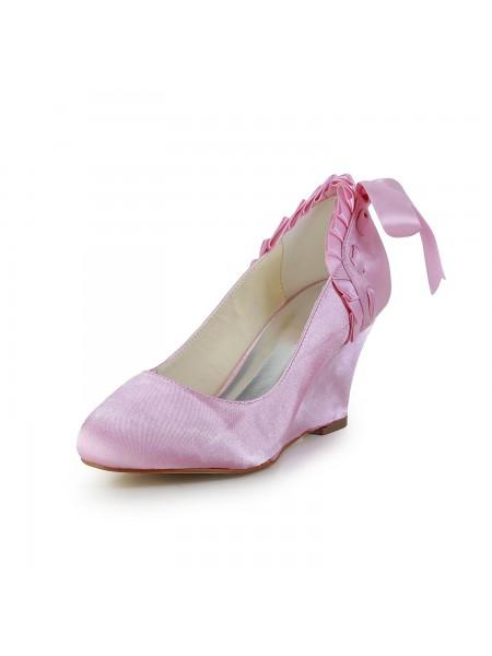 Women's Unique Satin Talon compensé Toe Fermé Pink Chaussures de mariage