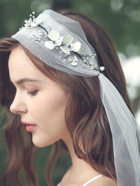 Graceful Tulle One-Tier Elbow De mariée Voiles With Faux diamants/Fleurs faites à la main