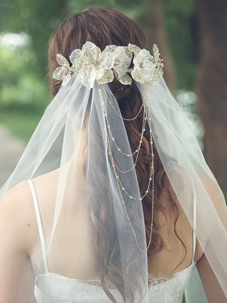 Attractive Tulle One-Tier Waltz De mariée Voiles With Faux diamants/Fleurs faites à la main