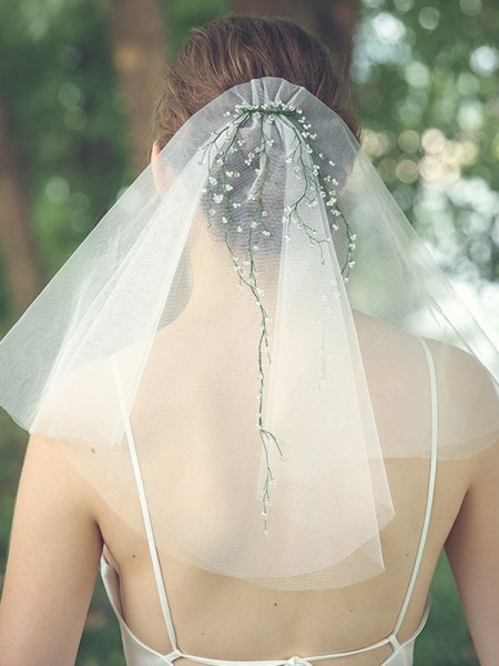 Brilliant Tulle Two-Tier Shoulder Voiles With Faux diamants/Perles