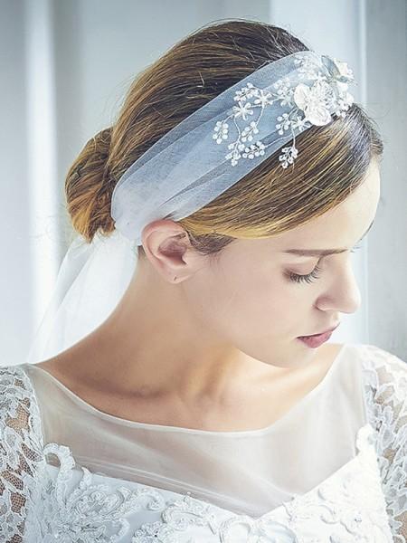 Attractive Tulle One-Tier Chapel De mariée Voiles With Faux diamants/Perles
