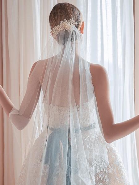 Élégant Tulle One-Tier Waltz De mariée Voiles With Cristal/Imitation Pearl