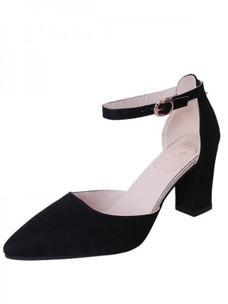 Women's Flock Chunky Heel Closed Toe Sandals