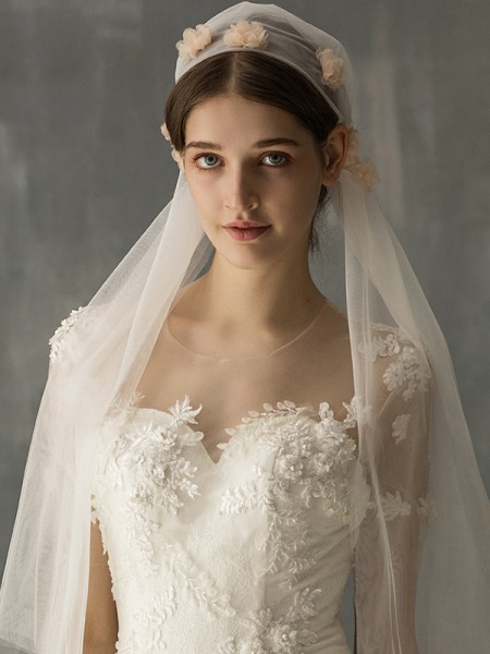 Wonderful Tulle One-Tier Elbow De mariée Voiles With Appliqués