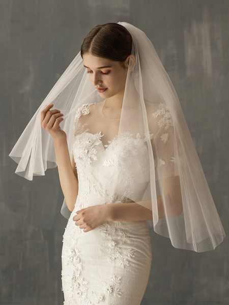Brilliant Tulle Two-Tier Elbow De mariée Voiles
