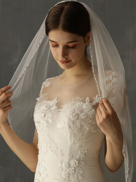 Charming Tulle One-Tier Elbow De mariée Voiles