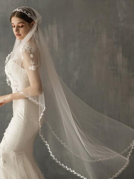 Delicate Tulle One-Tier Waltz De mariée Voiles