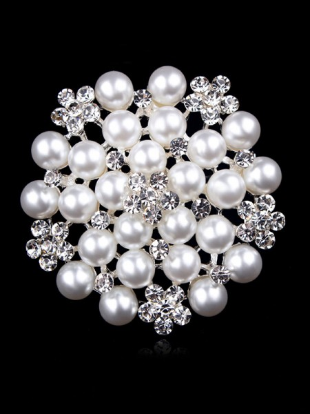Attrayant Alliage With Faux diamants/Imitation Pearl Ladies' Broche