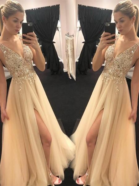 Trapèze/Princesse Col en V Sans Manches Longueur ras du sol Perles Tulle Robes