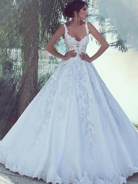 5415fc495b6 Robe de bal Bretelles spaghetti Sans Manches Longueur ras du sol Appliqués  Tulle Robes de Mariée
