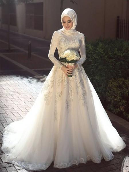 Robe de bal Col ras du cou Manches longues Traîne courte Appliqués Tulle Robes de Mariée