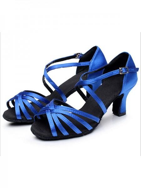 Aux Femmes Satiné Cone Heel Peep Toe Des sandales