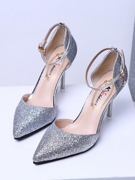 Aux Femmes Closed Toe Sparkling Glitter Stiletto Heel Talons hauts