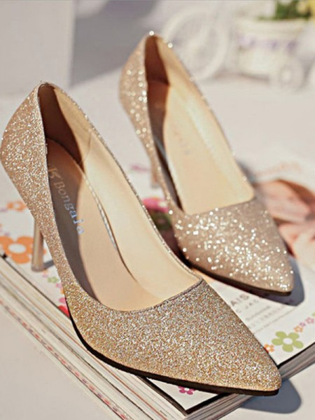 Women's Sparkling Glitter Closed Toe High Heels Stiletto Heel