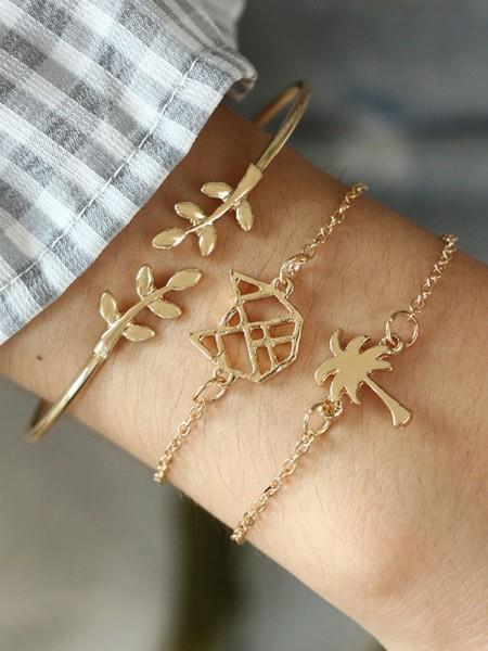 Modeable Alliage Avec Leaf Bracelets(3 Pièces)